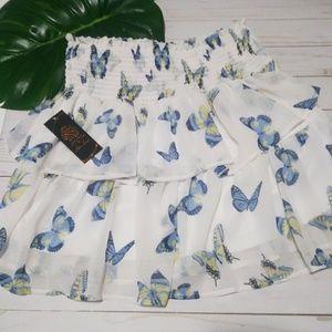 NWT $36 DISNEY Alice Wonderland Butterfly Skirt S